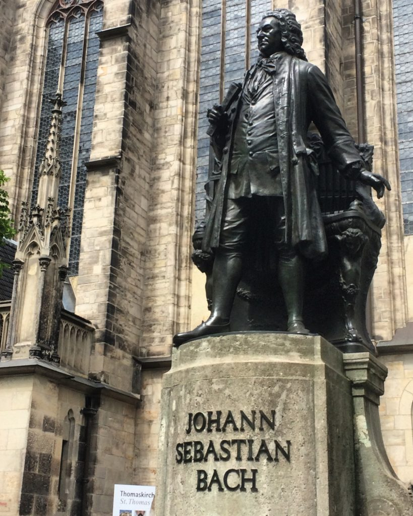 Bach statue outside Thomaskirche in Leipzig