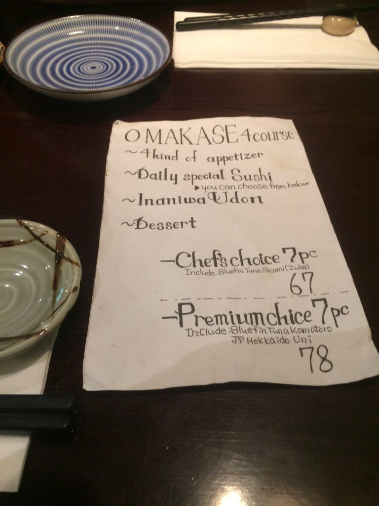 Four-course omakase menu at Tetsu Sushi Bar, Vancouver